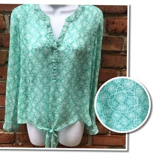 CHICO'S Sheer Lightweight Tie Teal print Blouse S
